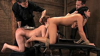 Slave sluts Cherry Torn and India Summer lick cum off a platter