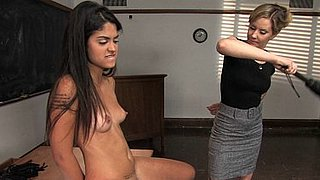 Maitresse Madeline lesbian teacher spanks and strapons Leah