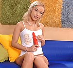 Candy blonde small tits teen girl masturbates with orange dildo